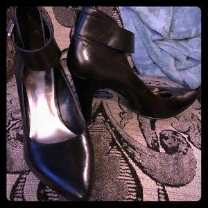 Black Leather Ankle-Strap Heels w/ Buckle & Zipper